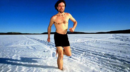 Wim Hof, a Dutch man, keeps the record of the fastest runner on barefoot on snow and ice. He completed 200 miles north of the Arctic Circle in more than 2 hours and even swam 80 meters under the North Pole ice.