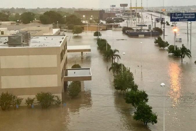 Flooding closed East Houston Regional Medical Center in Houston.