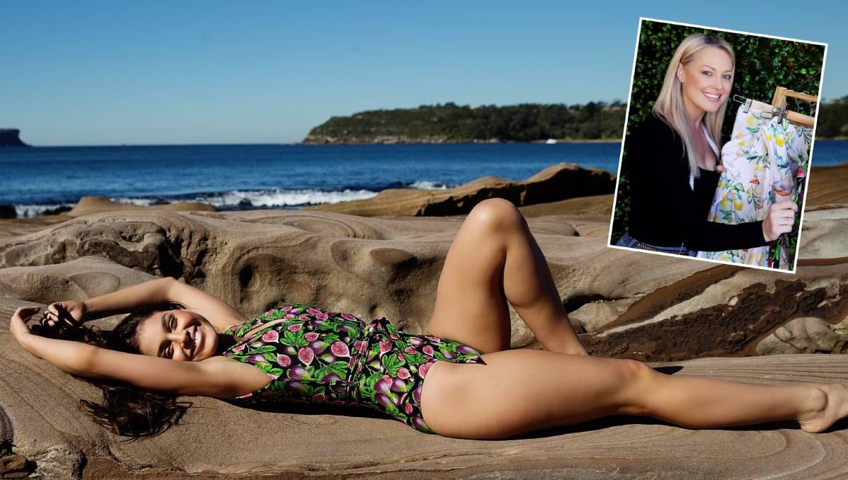 Leppington's Maddison Coluccio models a new Plivati swimwear costume, designed by Camden mum Julianne Bobanovic (inset). Pictures: Nikky Baric