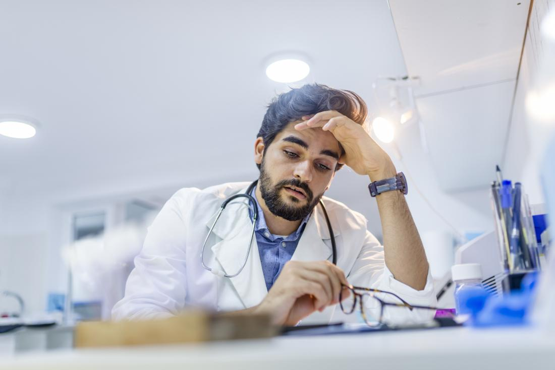 Stressed young doctor