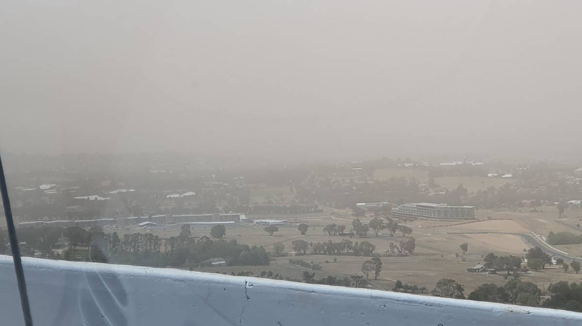 DUSTY DAYS: Bathurst disappeared into the dust storm on Tuesday, this is the view from the top of Mount Panorama. Photo: CASSANDRA WESTIE