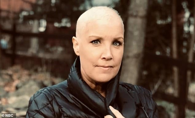 Speaking on Today, NBC News correspondent Kristen Dahlgren revealed that a dent in her breast led to her diagnosis with stage 2 cancer. Pictured: Dahlgren after chemo
