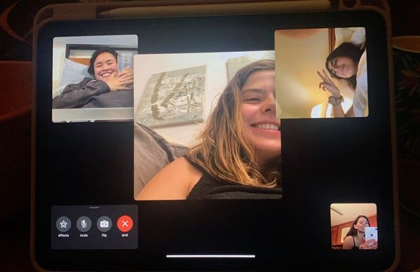 The author's daughter, Laney Pope, center, videochats with friends.