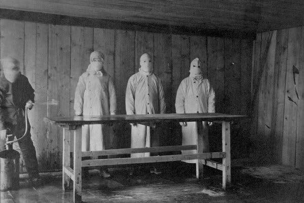 Disinfecting an autopsy table at a plague hospital in Mukden, China, in 1910, during a wave of pneumonic plague, also caused by the bacteria Yersinia pestis.