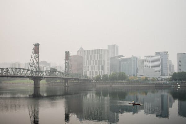 Portland continued to sit under a blanket of hazy, smoke-infused fog on Thursday.