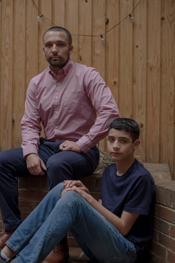 """Jorge Gallegos, left, and his son, Eyan. """"I'm going to make sure that we're on top of this stuff,"""" Mr. Gallegos said. """"I think as a parent, I have to do more."""""""