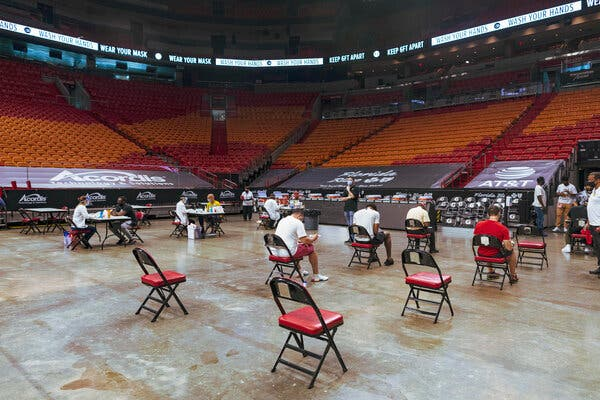 A vaccination event at AmericanAirlines Arena near Miami.